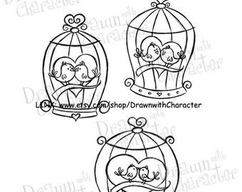 Valentine's Bird Cages Digital Stamp Art/ KopyKake Image-  SP58-BIRDCAGES