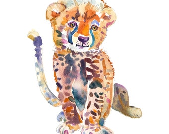 Cheetah  Cub -  Watercolor Painting - Animal Painting  - Animal Art Print - Nursery  Art