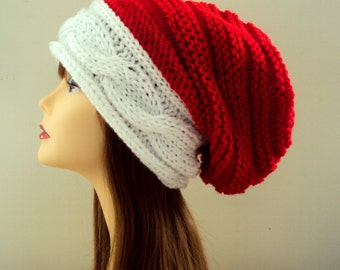 Santa Hat Super Slouchy Hat Oversized Beanie Christmas Hat Women Men Baggy Hat Dreadlock Hat Holiday Fashion Hat Gift Ideas