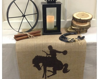"""Burlap Table Runner 16"""" or 18"""" wide with Cowboy on a horse and Cowboy Up!  Western decor Home decor Holiday decorating"""