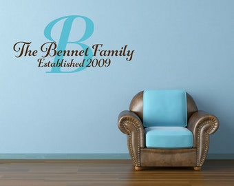 Family Wall Decal Family Name Decal Last Name Est Decal Family Established Date Vinyl Wall Decal - Family Decor Custom Family Wall Decal