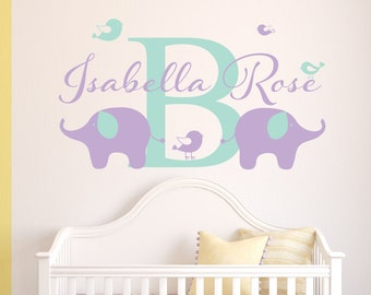 Elephant Name Wall Decal Personalized Name Wall Decal Boys Wall Decal Boys Nursery Decor Vinyl Wall Decal Elephant Decal