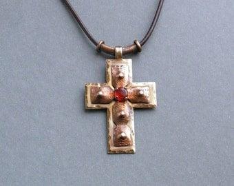 Cross pendant, copper cross pendant, handmade necklace, long necklace, cross jewelry, copper jewelry, metalwork, metal cross jewelry