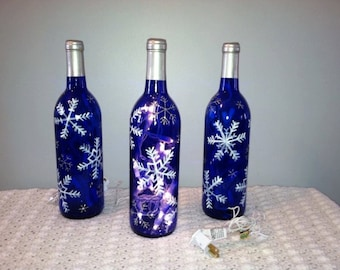 Wine bottle with vine lights, Snowflakes winter