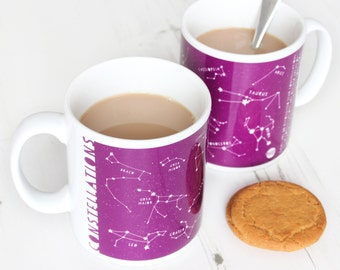 SALE - CONSTELLATIONS MUG Stars Purple Educational Ceramic Fun Science Christmas Birthday Gift for Her Mum Mothers Day Astronomy Space Home