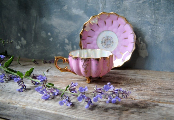 Footed China Tea Cup And Saucer Pink And Gold Castle