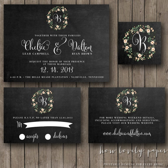 Printable Wedding Invitation Suite - the Claire Collection