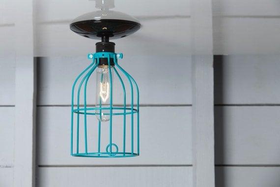 Plafonnier industriel fil bleu turquoise cage d clairage for Plafonnier industriel