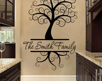 Custom Wall Decal - Tree Wall Decal - Black - Wall Decal - Tree - Curly Tree Wall Decal - Family Name Wall Decal - Custom Wall Decal