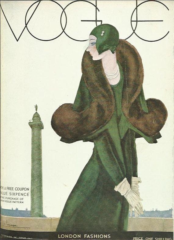 vogue magazine cover 1929 london fashion illustration vogue