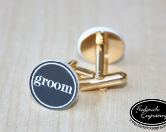 Personalized Groom Cuff Links, SHIPS FAST, Engraved Traditional Groom Cuff Links, Gifts For Him, Custom Colors, CF-11