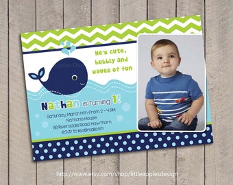 Whale Invitation / Whale Birthday Invitation /  Whale Invites / Preppy Whale Birthday Invitation / Blue Whale Invitation Printable