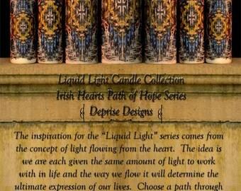 Liquid Light Irish Hearts Path of Hope Candle