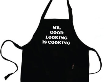 Boyfriend Christmas Gift Father Gift Husband Gift For Men Personalized Mens Mr GOOD LOOKING Is COOKING Apron Grilling Gifts For Dad