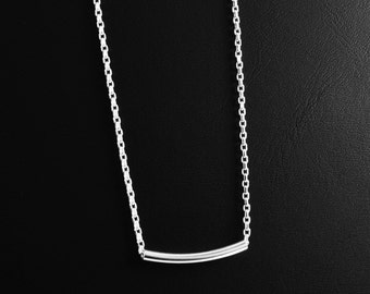 Sterling Silver Tube Bar Necklace, Sterling Silver Bar Necklace, Bar Necklace, Silver Tube Necklace