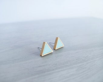 Mint Triangle Stud Earrings - Hypoallergenic Titanium Posts