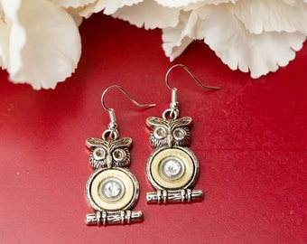 Shotgun Bullet Casing Jewelry - Owl Dangle Shotgun Bullet Earrings (410) (Nickel Free)