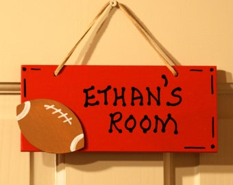 SPORT Football Room Sign Hand Personalized, Red. Boy's Room Decor. Door Sign. Kids Name Door Plaque. Children's room sign. Kids sport decor.