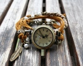 Women watch bracelet with wrap suede bracelet (brown-mustard and beige), boat or feather charm and antique gold chain. - MO01
