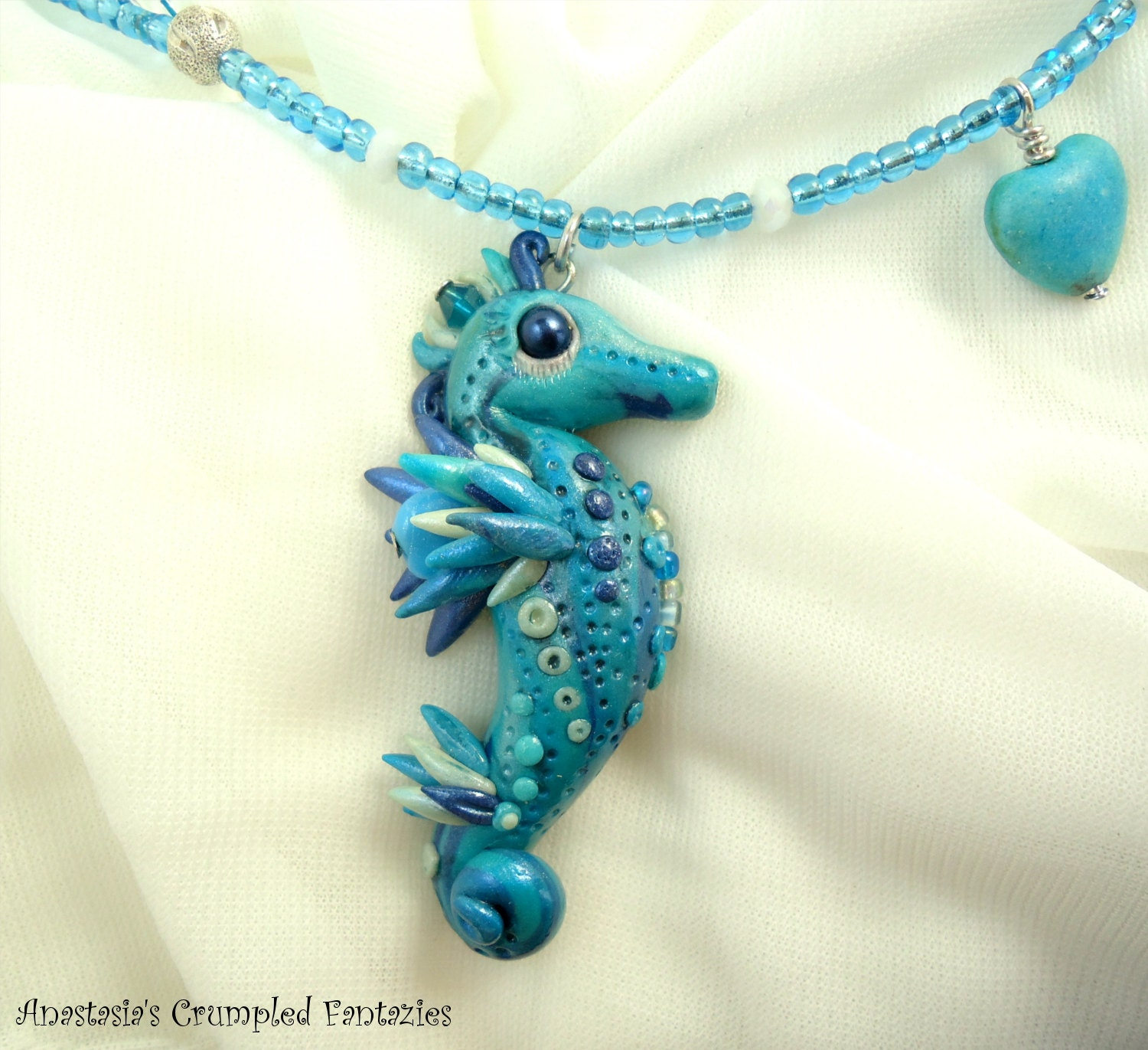 Blue White Polymer Clay Seahorse Necklace Underwater Creature