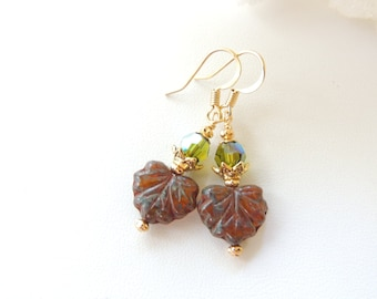 Fall Leaf Earrings, Czech Glass Leaf Earrings, Fall Fashion Accessories, Autumn Jewelry, Seasonal Jewelry, Dangle Earrings, Gift Idea.  #211