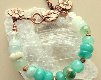 Peruvian Opal, Chalcedony, and Faceted Aqua Jade Gemstone Bracelet With Copper Flower and Leaf Clasp