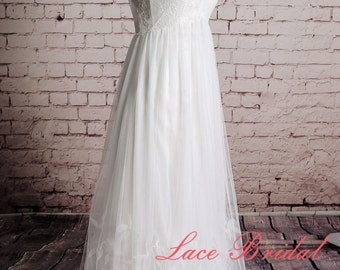 Sheer tulle Straps Wedding Dress Special Skirt Bridal Gown A-line Outside Wedding Gown Beach Style Wedding Dress