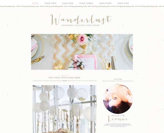"Blogger Template Blog Theme ""Wanderlust"" // Pretty Blog Theme // Gold Gray Pink Glitter // Blogger // Pre-made Blog Design"