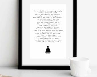 """Yoga Print, Buddha Quote """"Do not believe…..""""buddha wall art, Yoga Art print, Yoga Poster, Buddha Quotes, Buddha art print, Buddha, ET140"""