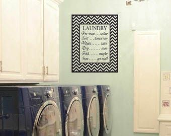 Laundry room decor - vinyl wall art - matt vinyl decal - laundry sign - The Laundry List with chevron frame - laundry room decal