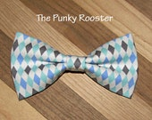 Gray and Blue Argyle Bow Tie, Clip on Bow Tie, Boys Bow Tie, Toddler Bow Tie