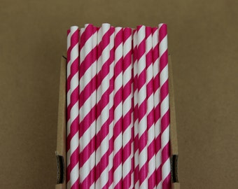 25 fuchsia striped straws (PS0003)  - hot pink party straws - with printable DIY flags