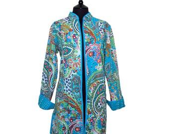 PAISLEY LONG JACKET - All sizes - Turquoise