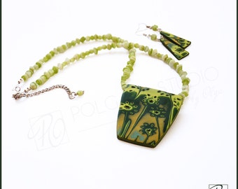 Polymer Clay Jewelry Set Necklace and Earrings Forest Flowers - Contemporary Art Jewelry. Necklace Green Yellow Gold. Ready to ship.