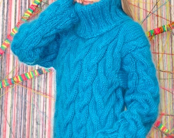 Hand Knit Mohair Sweater Cable Blue Fuzzy Turtleneck Jumper Pullover Jersey MADE to ORDER - by Extravagantza