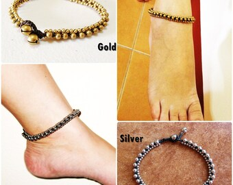 Silver, Gold Beads Anklet Waxed Cotton Cord Bohemian Adjustable Size, Wax String Anklet Handmade, Thailand Jewelry. (JA1001)