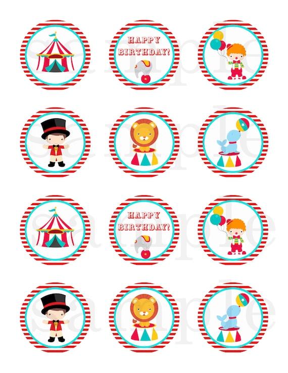 Circus cupcake topper - circus sticker - red circus label ...