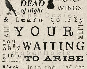 Blackbird Singing in the Dead of Night,  Blackbird Print,  Beatles Song Lyrics, Subway Art, Beatles Art, Home Decor