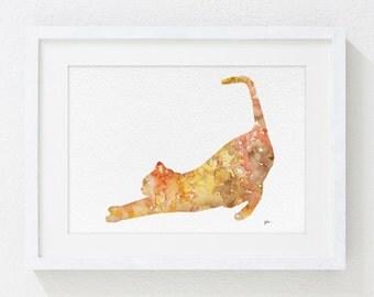 Orange Cat Art Print - 5x7 Archival Watercolor Print - Orange, Yellow, Brown Cat Painting - Animals - Colorful Modern Art Wall Decor, GIfts