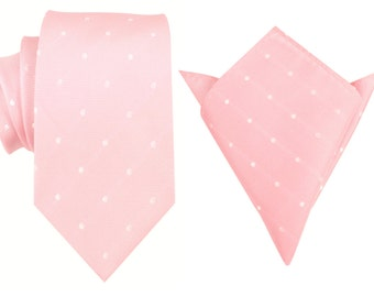 Matching Necktie + Pocket Square Baby Pink with White Polka Dots Dot Polkadots (X238-T8+P) Men's Handkerchief + Neck Tie Combo Ties Neckties