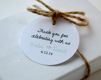 Thank You White Matte Round Label Tags - Custom Wedding Favor & Gift Tags - Choice of Colors - Thank you for celebrating