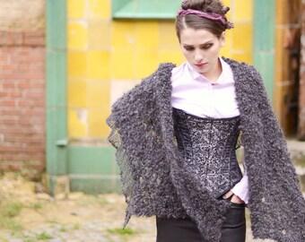 chunky shawl - knit shawl -  loose knit - wrap shawl - charcoal shawl - winter shawl - unique