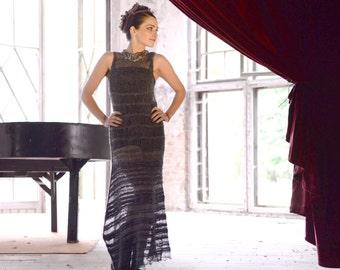 bohemian clothing - knit maxi dress - womens dress - french chic - charcoal