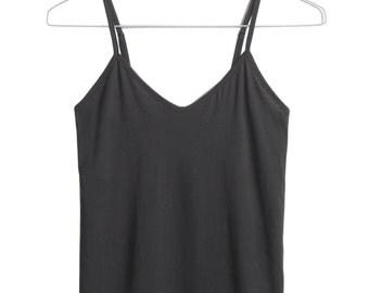 Organic Cotton Tank Top, Black Tank Top, Spaghetti Strap Top, Tank Top for Women, Yoga Top, Gray Tank Top