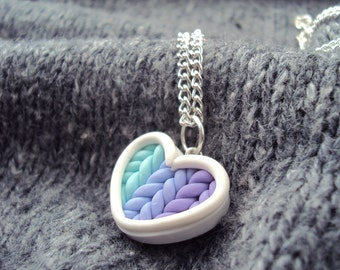 Ombre Teal Purple Knitted Heart Necklace Polymer Clay, Miniature Clay Jewelry, Silver Plated Chain