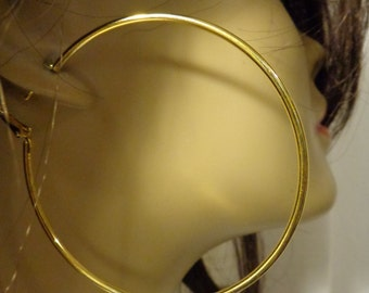 LARGE 2.75 inch Hoop Earrings GOLD tone Classic Thin Hoop Earrings