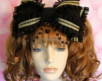 MADE TO ORDER-Gothic Gold-Oversized Head Bow-Gothic Lolita-Classic Lolita-Black and Gold-Lolita Headbow-Black Lolita Bow-Rosary Chain-Beads