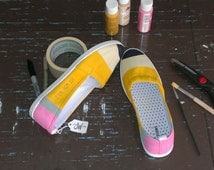 Classic Yellow No. 2 Pencil Shoes - Fun Canvas Shoes For Students and Teachers!