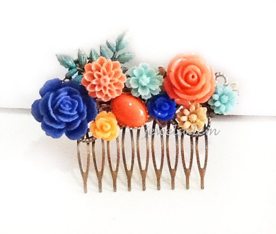 https://www.etsy.com/listing/184147905/wedding-hair-comb-peach-coral-navy-blue