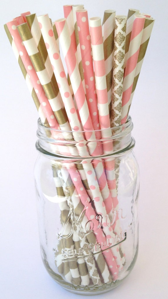 decorative straws for weddings gold paper straws pink paper straws decor bridal 3463